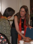 Laurie Halse Anderson signing book give-aways after the breakfast